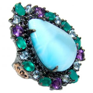 Natural Larimar Emerald Black Rhodium over .925 Sterling Silver handcrafted Ring s. 7