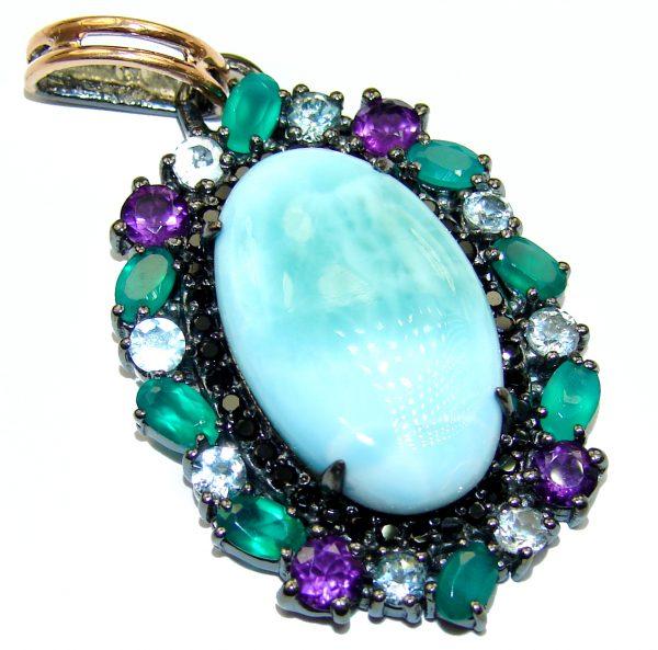Reflection of Caribbean Sea Larimar Emerald Sapphire .925 Sterling Silver handmade pendant