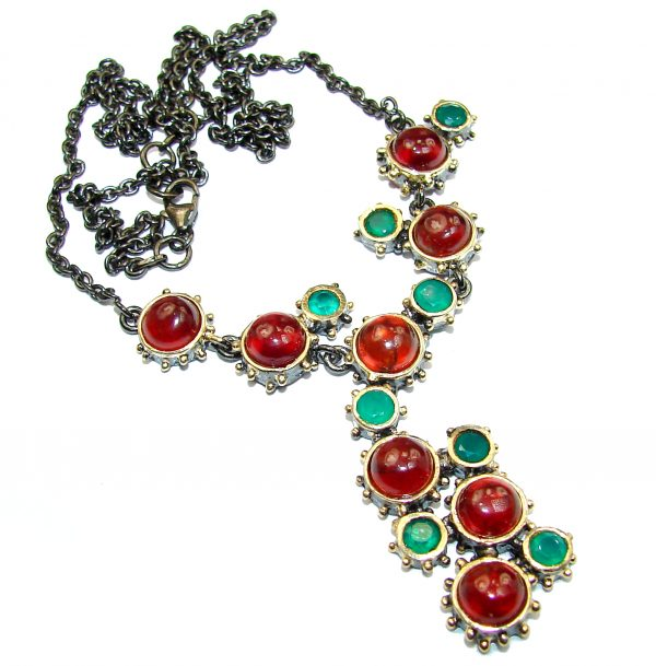 Great Masterpiece genuine Garnet Emerald 14K Gold over .925 Sterling Silver handmade necklace