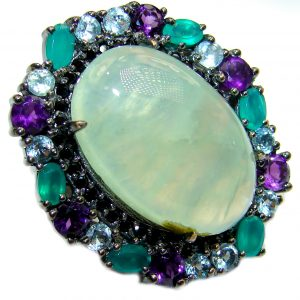 Natural Prehnite Emerald Black Rhodium over .925 Sterling Silver handcrafted Ring s. 6