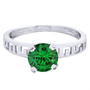 Emerald Promise Ring 10K Gold / 2.1 Grams