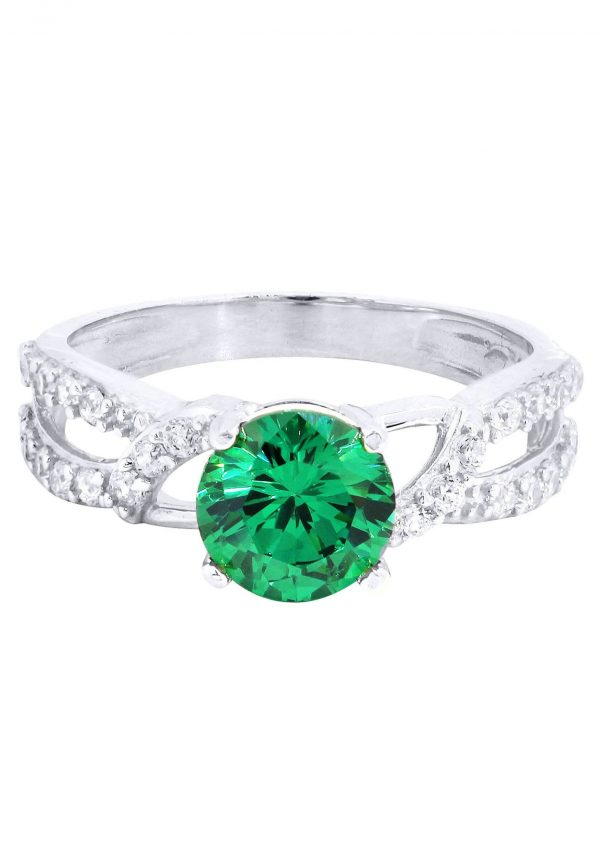 Emerald & Crystal Promise Ring 10K Gold / 2.6 Grams