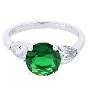 Emerald & Crystal Promise Ring 10K Gold / 4.3 Grams