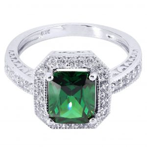 Emerald & Crystal Promise Ring 10K Gold / 4.4 Grams