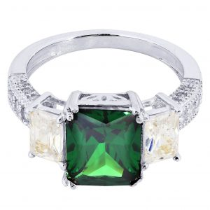 Emerald & Crystal Promise Ring 10K Gold / 4.6 Grams