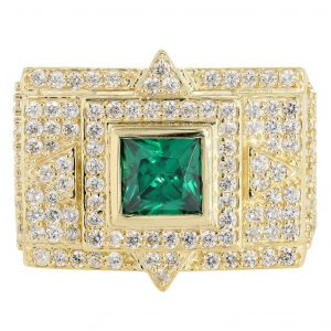 Emerald & Cz 10K Yellow Gold Mens Ring. / 13.3 Grams