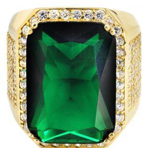 Emerald & Cz 10K Yellow Gold Mens Ring. / 21.1 Grams
