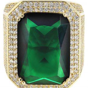 Emerald & Cz 10K Yellow Gold Mens Ring. / 26.5 Grams