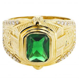 Emerald & Cz 10K Yellow Gold Mens Ring. / 7.2 Grams
