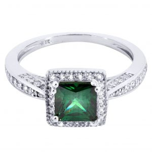 Emerald & Crystal Promise Ring 10K Gold / 2.8 Grams