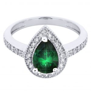 Emerald & Crystal Promise Ring 10K Gold / 3.2 Grams