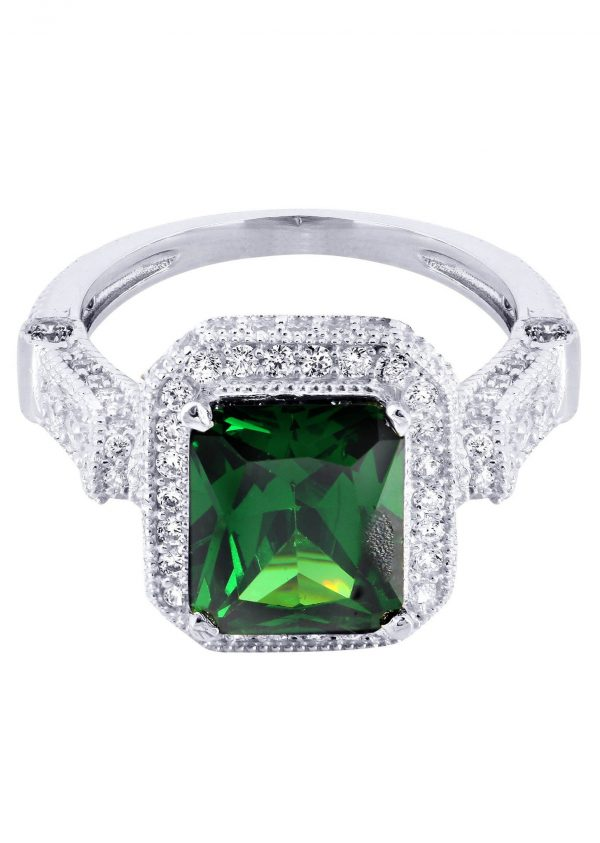 Emerald & Crystal Promise Ring 10K Gold / 5 Grams