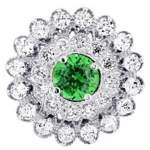 Emerald & Crystal Promise Ring 10K Gold / 5.7 Grams