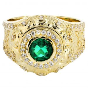 Emerald & Cz 10K Yellow Gold Mens Ring. / 6.6 Grams