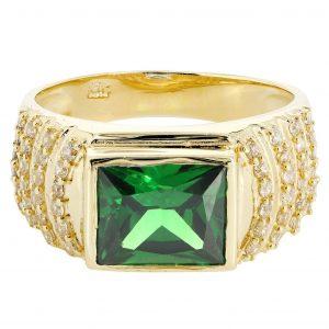 Emerald & Cz 10K Yellow Gold Mens Ring. / 8.1 Grams